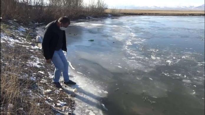 Kura nehri'nin yüzeyi buzla kaplandı