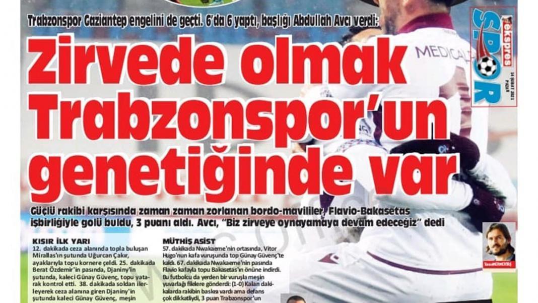 Trabzonspor'da galibiyet coşkusu manşetlere taşındı