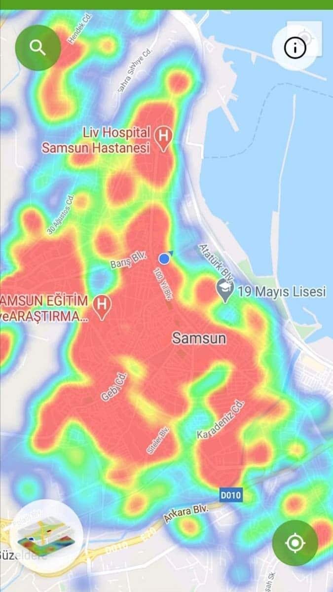 Samsun'da hes haritası kırmızıyla kaplandı