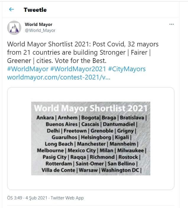 Mansur yavaş 2021 dünya belediye başkanı ödülü'ne aday gösterildi