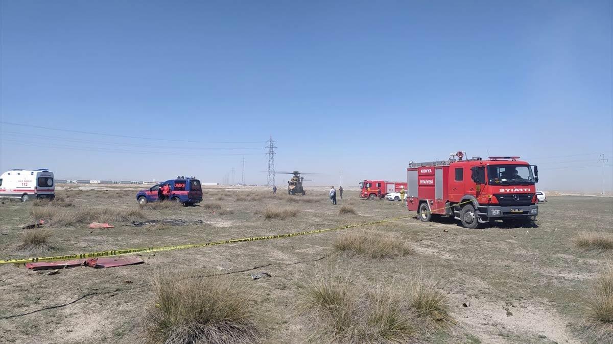 Konya'da türk yıldızlarına ait uçak düştü